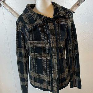 Peck & Peck Plaid Zip Sweater